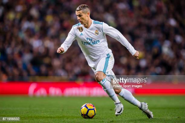 Cristiano Ronaldo of Real Madrid reacts during the La Liga 201718 match between Real Madrid and UD Las Palmas at Estadio Santiago Bernabeu on...