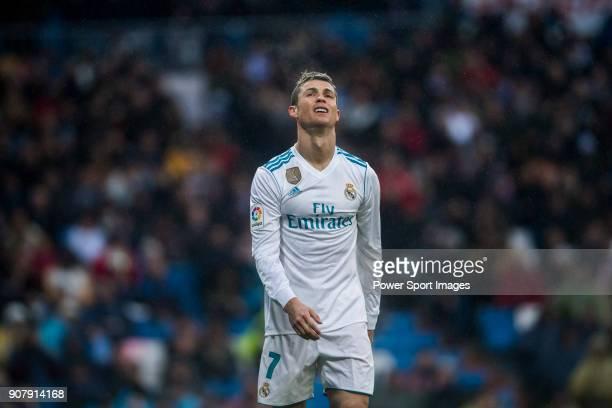 Cristiano Ronaldo of Real Madrid reacts during the La Liga 201718 match between Real Madrid and Villarreal CF at Santiago Bernabeu Stadium on January...