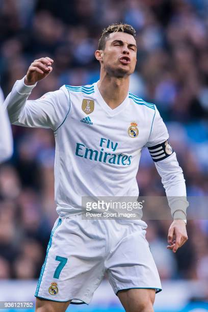 Cristiano Ronaldo of Real Madrid reacts during the La Liga 201718 match between Real Madrid and Deportivo Alaves at Santiago Bernabeu Stadium on...