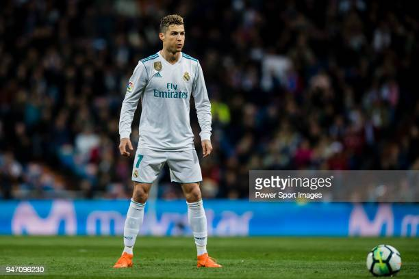 Cristiano Ronaldo of Real Madrid reacts during the La Liga 201718 match between Real Madrid and Girona FC at Estadio Santiago Bernabéu on March 18...