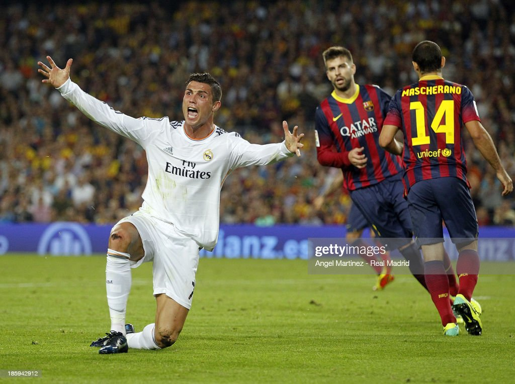 Cristiano Ronaldo of Real Madrid reacts during the La Liga match between FC Barcelona and Real Madrid at Camp Nou on October 26, 2013 in Barcelona, Spain.