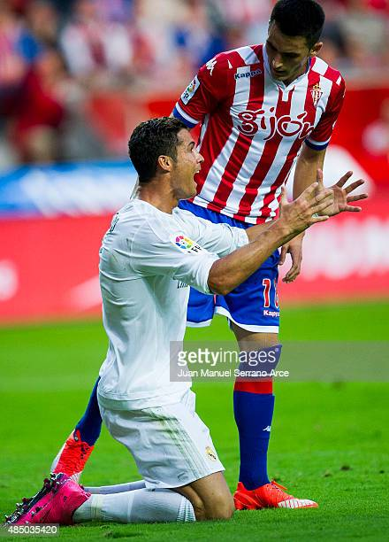 Cristiano Ronaldo of Real Madrid reacts during the La Liga match between Sporting Gijon and Real Madrid at Estadio El Molinon on August 23 2015 in...