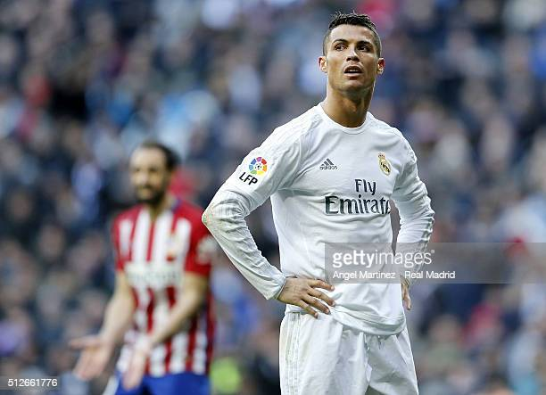 Cristiano Ronaldo of Real Madrid reacts during the La Liga match between Real Madrid CF and Club Atletico de Madrid at Estadio Santiago Bernabeu on...