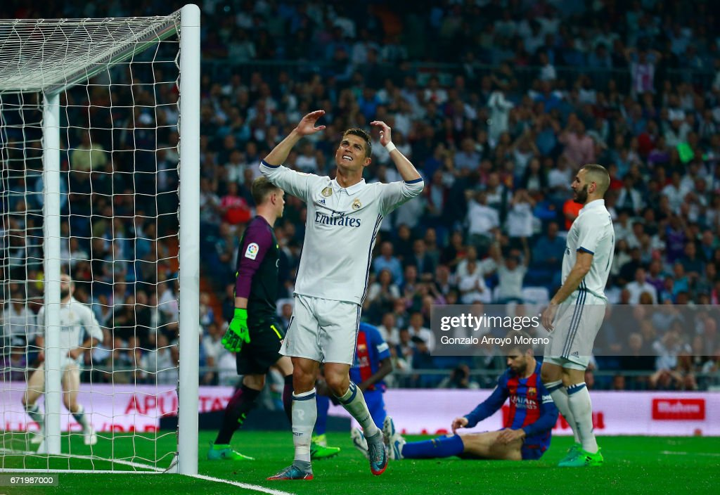 Cristiano Ronaldo of Real Madrid reacts during the La Liga match between Real Madrid CF and FC Barcelona at Estadio Bernabeu on April 23, 2017 in Madrid, Spain.