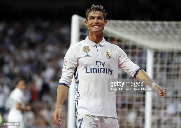 Cristiano Ronaldo of Real Madrid reacts during the La Liga match between Real Madrid and Sevilla FC at Estadio Santiago Bernabeu on May 14 2017 in...