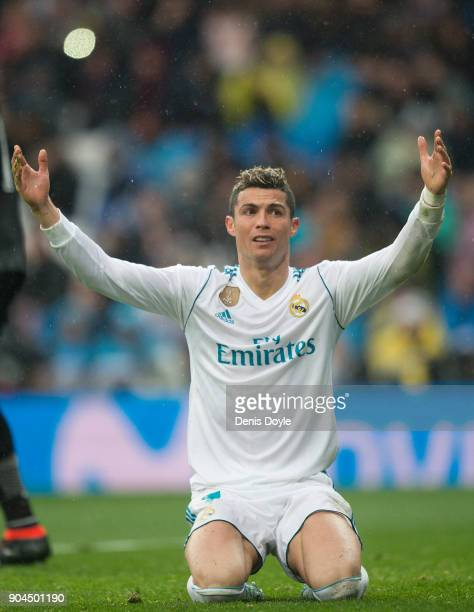 Cristiano Ronaldo of Real Madrid reacts during the La Liga match between Real Madrid and Villarreal at Estadio Santiago Bernabeu on January 13 2018...