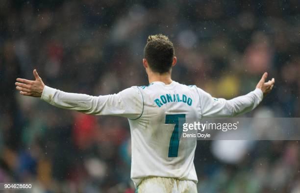 Cristiano Ronaldo of Real Madrid reacts during the La Liga match between Real Madrid and Villarreal at Estadio Santiago Bernabeu on January 13 2018...