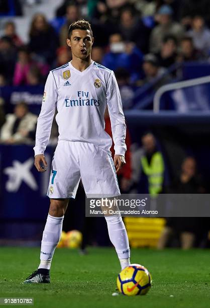 Cristiano Ronaldo of Real Madrid reacts during the La Liga match between Levante and Real Madrid at Ciutat de Valencia on February 3 2018 in Valencia...