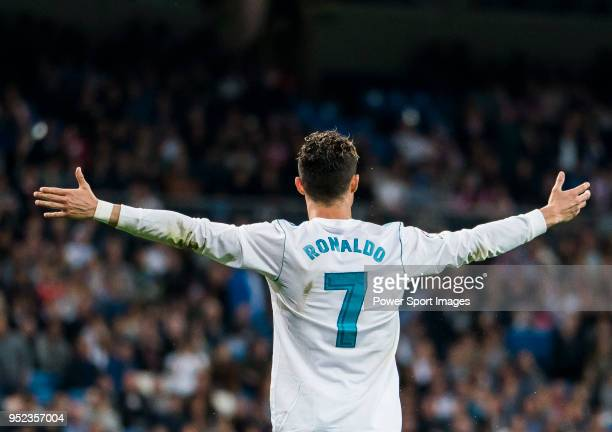 Cristiano Ronaldo of Real Madrid reacts during the La Liga match between Real Madrid and Athletic Club at Estadio Santiago Bernabeu on April 18 2018...