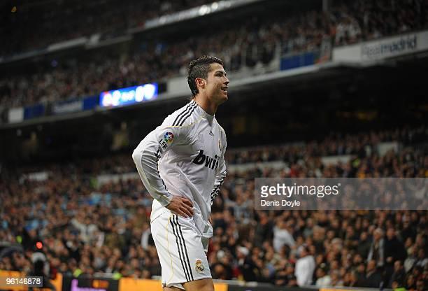 Cristiano Ronaldo of Real Madrid reacts during the La Liga match between Real Madrid and Malaga at the Santiago Bernabeu stadium on January 24 2010...