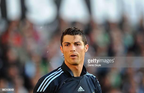 Cristiano Ronaldo of Real Madrid reacts during the La Liga match between Racing Santander and Real Madrid at El Sardinero stadium on April 4 2010 in...