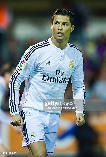 Cristiano Ronaldo of Real Madrid reacts during the La Liga match between SD Eibar and Real Madrid at Ipurua Municipal Stadium on November 22 2014 in...