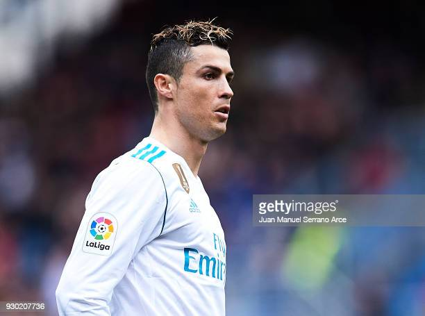 Cristiano Ronaldo of Real Madrid reacts during the La Liga match between SD Eibar and Real Madrid at Ipurua Municipal Stadium on March 10 2018 in...