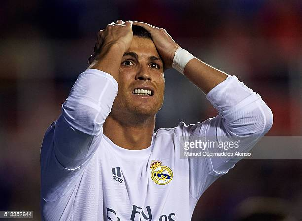 Cristiano Ronaldo of Real Madrid reacts during the La Liga match between Levante UD and Real Madrid at Ciutat de Valencia on March 02 2016 in...