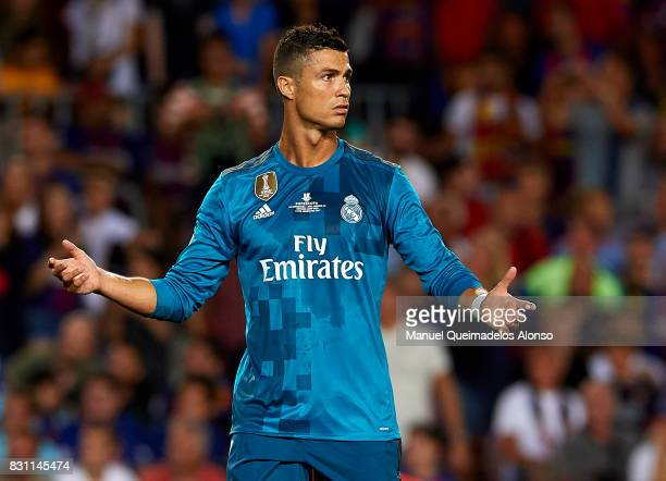 Cristiano Ronaldo of Real Madrid reacts during the Supercopa de Espana Supercopa Final 1st Leg match between FC Barcelona and Real Madrid at Camp Nou...