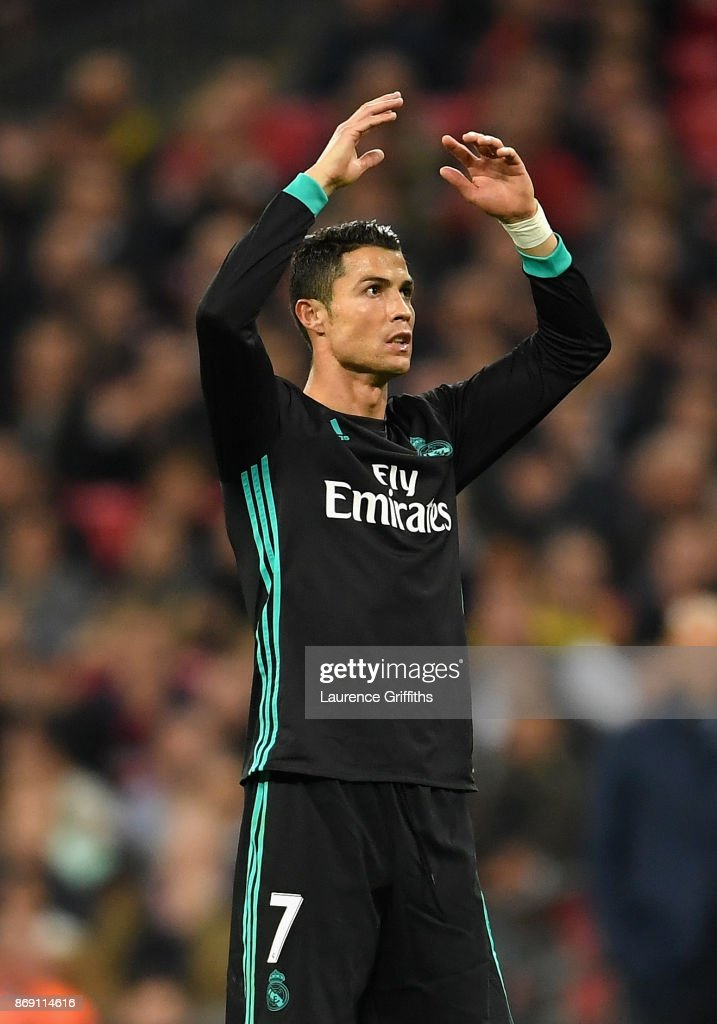 Cristiano Ronaldo of Real Madrid reacts during the UEFA Champions League group H match between Tottenham Hotspur and Real Madrid at Wembley Stadium on November 1, 2017 in London, United Kingdom.