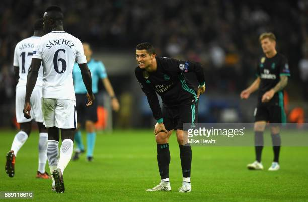 Cristiano Ronaldo of Real Madrid reacts during the UEFA Champions League group H match between Tottenham Hotspur and Real Madrid at Wembley Stadium...