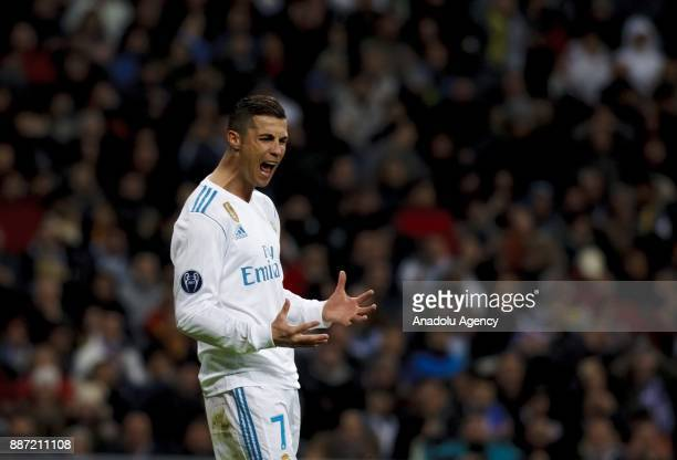 Cristiano Ronaldo of Real Madrid reacts during the UEFA Champions League group H match between Real Madrid and Borussia Dortmund at Santiago Bernabeu...