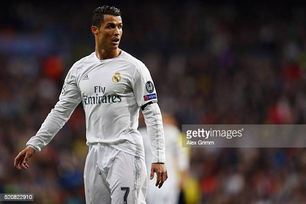 Cristiano Ronaldo of Real Madrid reacts during the UEFA Champions league Quarter Final Second Leg match between Real Madrid and VfL Wolfsburg at...