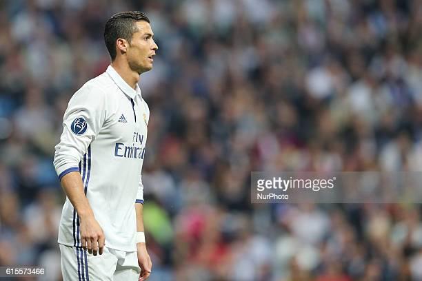 Cristiano Ronaldo of Real Madrid reacts during the UEFA Champions League football match Real Madrid CF vs Legia Legia Warszawa at the Santiago...