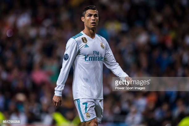 Cristiano Ronaldo of Real Madrid reacts during the UEFA Champions League 201718 match between Real Madrid and Tottenham Hotspur FC at Estadio...