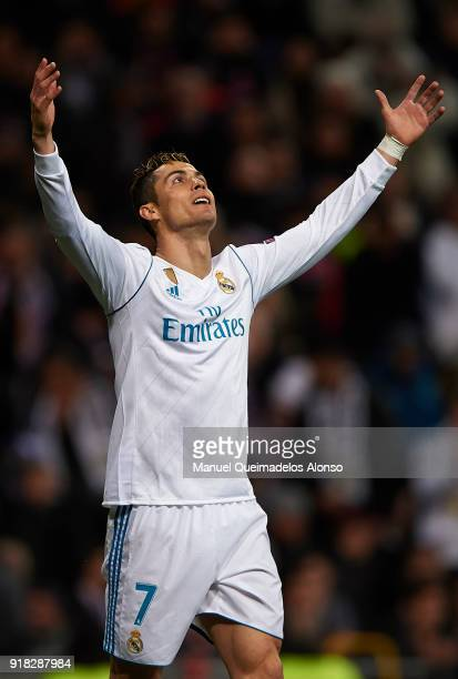 Cristiano Ronaldo of Real Madrid reacts during the UEFA Champions League Round of 16 First Leg match between Real Madrid and Paris SaintGermain at...