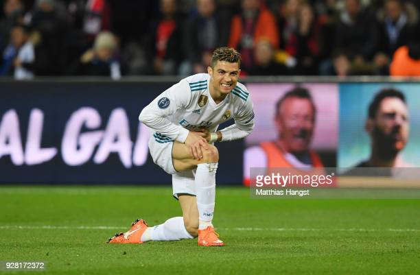 Cristiano Ronaldo of Real Madrid reacts during the UEFA Champions League Round of 16 Second Leg match between Paris SaintGermain and Real Madrid at...