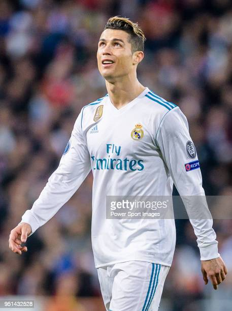 Cristiano Ronaldo of Real Madrid reacts during the UEFA Champions League 201718 quarterfinals match between Real Madrid and Juventus at Estadio...