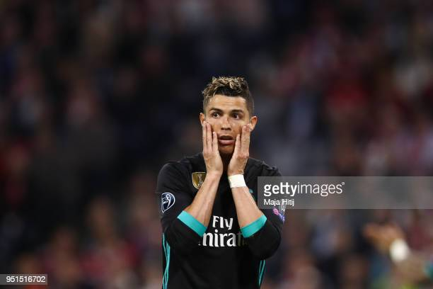 Cristiano Ronaldo of Real Madrid reacts during the UEFA Champions League Semi Final First Leg match between Bayern Muenchen and Real Madrid at the...