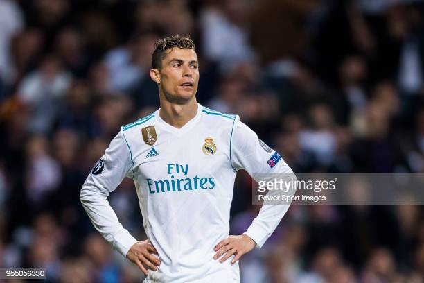 Cristiano Ronaldo of Real Madrid reacts during the UEFA Champions League Semi Final Second Leg match between Real Madrid and Bayern Muenchen at the...