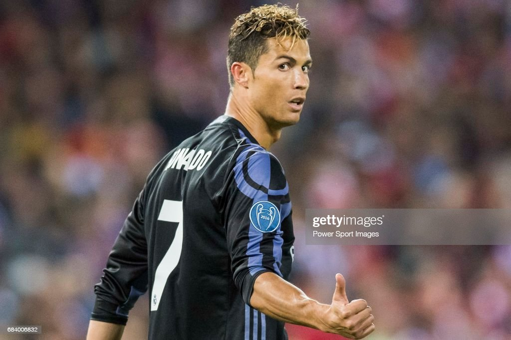 Cristiano Ronaldo of Real Madrid reacts during their 2016-17 UEFA Champions League Semifinals 2nd leg match between Atletico de Madrid and Real Madrid at the Estadio Vicente Calderon on 10 May 2017 in Madrid, Spain.