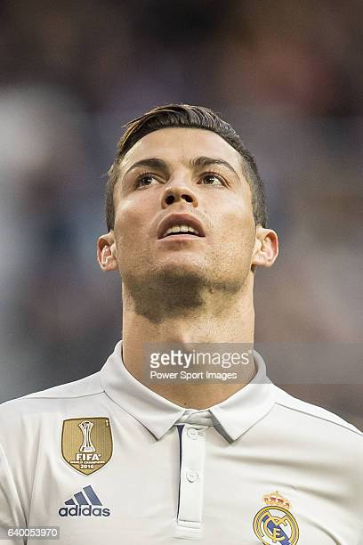 Cristiano Ronaldo of Real Madrid reacts during their La Liga 201617 match between Real Madrid and Malaga CF at the Estadio Santiago Bernabéu on 21...