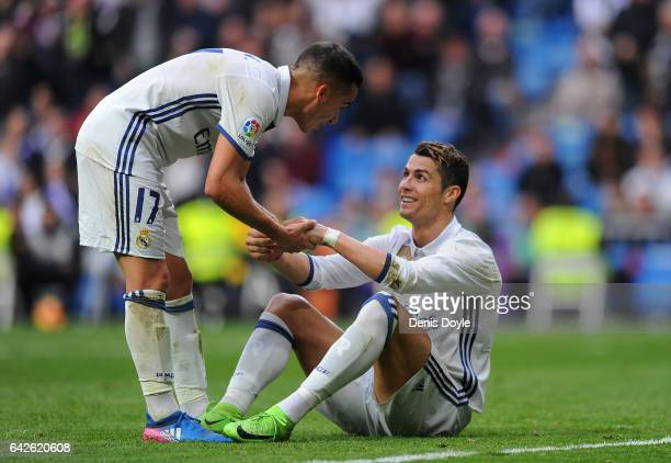Cristiano Ronaldo of Real Madrid reacts with Lucas Vazquez during the La Liga match between Real Madrid CF and RCD Espanyol at the Bernabeu stadium...
