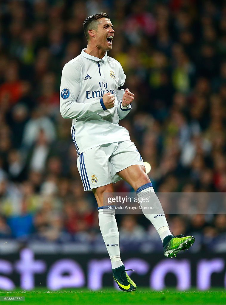 Cristiano Ronaldo of Real Madrid reats during the UEFA Champions League Group F match between Real Madrid CF and Borussia Dortmund at the Bernabeu on December 7, 2016 in Madrid, Spain.
