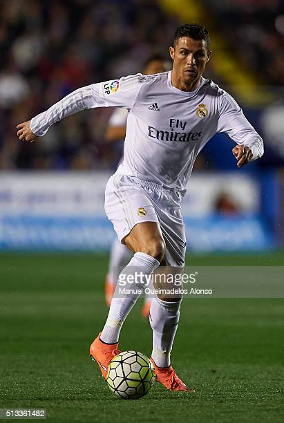 Cristiano Ronaldo of Real Madrid runs with the ball during the La Liga match between Levante UD and Real Madrid at Ciutat de Valencia on March 02...