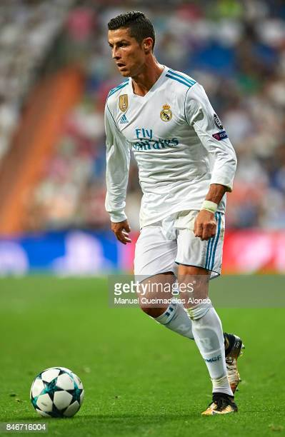 Cristiano Ronaldo of Real Madrid runs with the ball during the UEFA Champions League group H match between Real Madrid and APOEL Nikosia at Estadio...