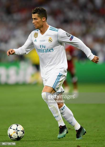 Cristiano Ronaldo of Real Madrid runs with the ball during the UEFA Champions League Final between Real Madrid and Liverpool at NSC Olimpiyskiy...