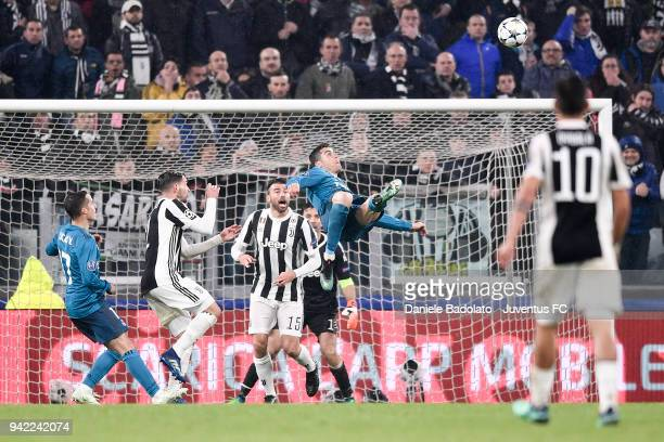 Cristiano Ronaldo of Real Madrid scores 02 goal during the UEFA Champions League Quarter Final Leg One match between Juventus and Real Madrid at...