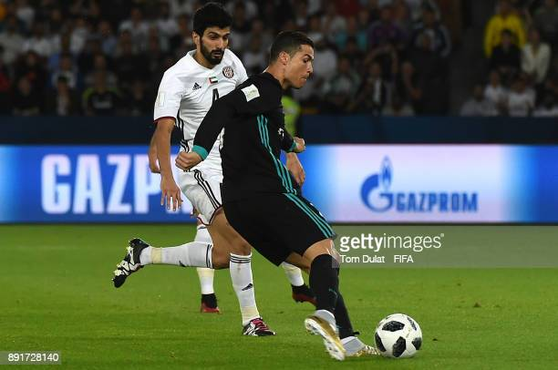 Cristiano Ronaldo of Real Madrid scores a goal during the FIFA Club World Cup UAE 2017 semi final match between Al Jazira and Real Madrid CF at Zayed...