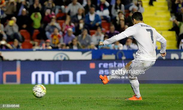 Cristiano Ronaldo of Real Madrid scores a goal during the La Liga match between Levante UD and Real Madrid at Ciutat de Valencia on March 02 2016 in...
