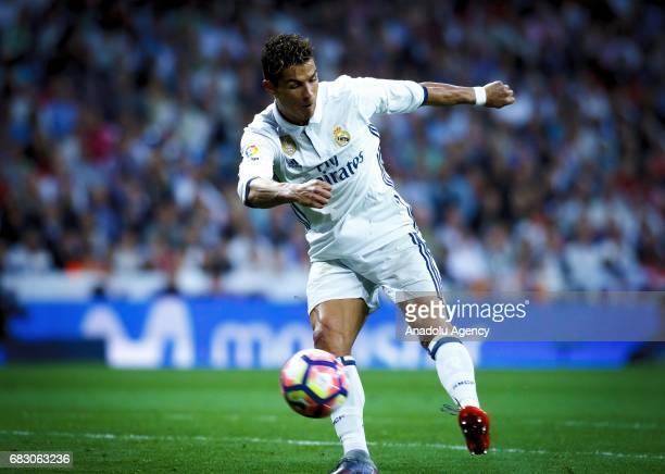 Cristiano Ronaldo of Real Madrid scores a goal during the La Liga match between Real Madrid and Sevilla at Santiago Bernabeu Stadium in Madrid Spain...