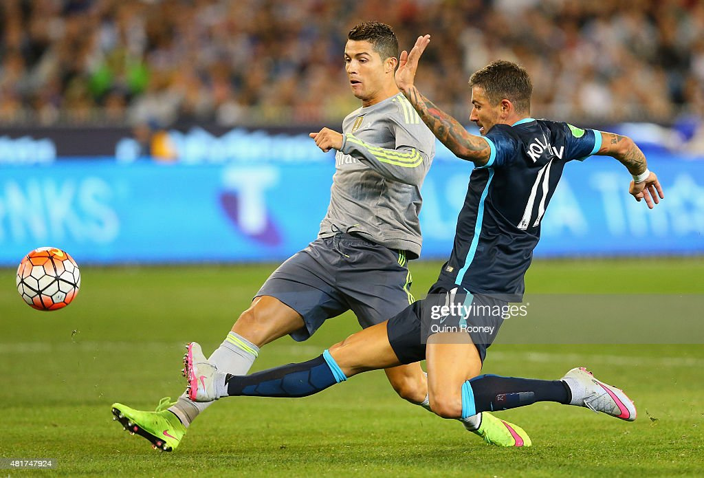 Cristiano Ronaldo of Real Madrid scores a goal infront of Aleksandar Kolarov of Manchester City during the International Champions Cup match between Real Madrid and Manchester City at Melbourne Cricket Ground on July 24, 2015 in Melbourne, Australia.
