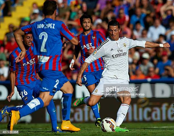 Cristiano Ronaldo of Real Madrid scores during the La Liga match between Levante UD and Real Madrid at Ciutat de Valencia on October 18 2014 in...