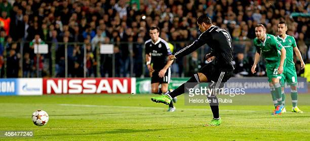 Cristiano Ronaldo of Real Madrid scores from the penalty spot during the UEFA Champions League group B match between PFC Ludogorets Razgrad and Real...