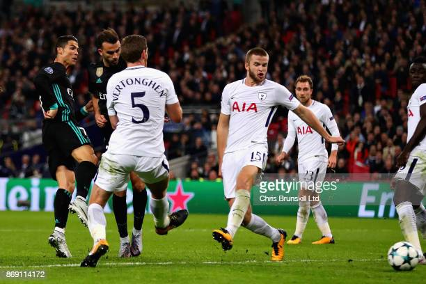 Cristiano Ronaldo of Real Madrid scores his sides first goal during the UEFA Champions League group H match between Tottenham Hotspur and Real Madrid...