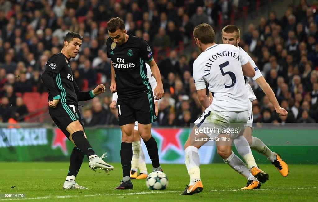 Cristiano Ronaldo of Real Madrid scores his side's first goal during the UEFA Champions League group H match between Tottenham Hotspur and Real Madrid at Wembley Stadium on November 1, 2017 in London, United Kingdom.