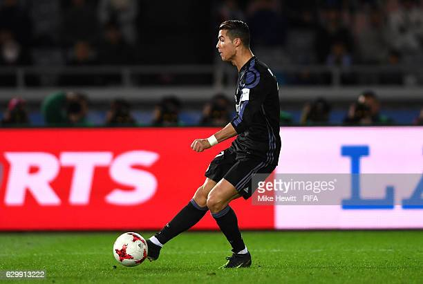 Cristiano Ronaldo of Real Madrid scores his sides second goal during the FIFA Club World Cup Semi Final match between Club America and Real Madrid at...