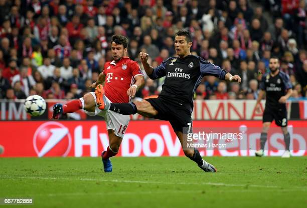 Cristiano Ronaldo of Real Madrid scores his team's 2nd goal during the UEFA Champions League Quarter Final first leg match between FC Bayern Muenchen...