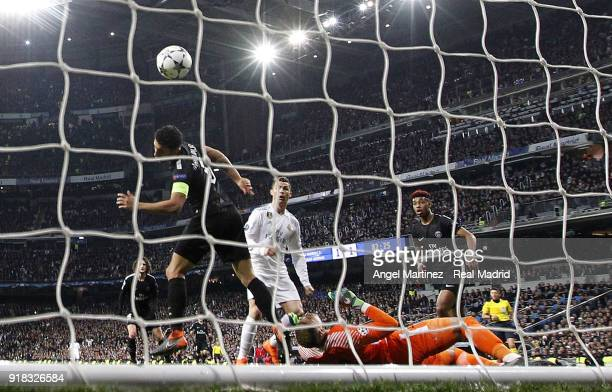 Cristiano Ronaldo of Real Madrid scores his team's second goal during the UEFA Champions League Round of 16 First Leg match between Real Madrid and...