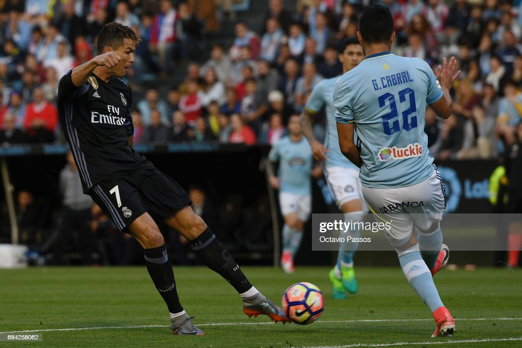 Cristiano Ronaldo of Real Madrid scores the first goal against RC Celta during the La Liga match, between Celta Vigo and Real Madrid at Estadio Balaidos on May 17, 2017 in Vigo, Spain.